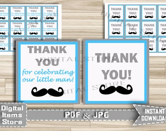 Mustache Blue Gray Thank You Tag - Party Thank You Tag - Thank You Mustache - Favor Thank You Tag Blue Gray - Instant Download - m3