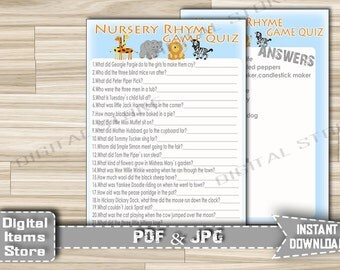 Safari Baby Shower Nursery Rhyme Quiz - Baby Shower Printable Nursery Rhyme Game Animals Jungle Zoo - Instant Download - sb1