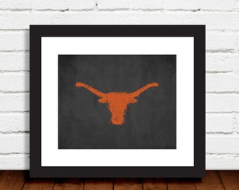 Longhorn Paint Splatter Black Gray Burnt Orange Art Print Wall Art Decor Photo Print