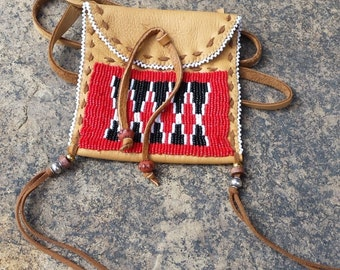 Bag Native American Leather Bag/Medicine Bag Bob Manygoats