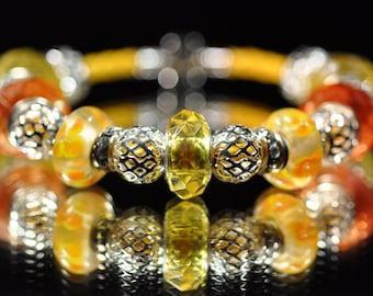 Yellow orange on yellow leather bracelet