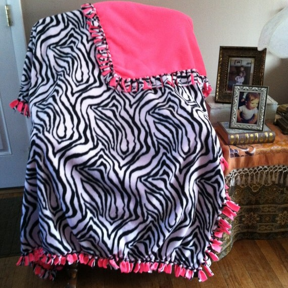 fleece blanket throw black and white zebra with neon pink. Black Bedroom Furniture Sets. Home Design Ideas