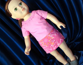 "Pink Mini Skirt & T-Shirt; Doll Outfit; for American Girl Style 18"" Dolls! School and Dress Up Doll Clothes."