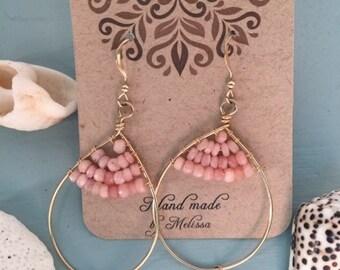 Pink opal and moonstone earrings