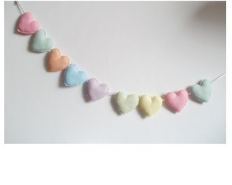 Heart  banner -garland - bunting - pastel hearts- adjustable garland