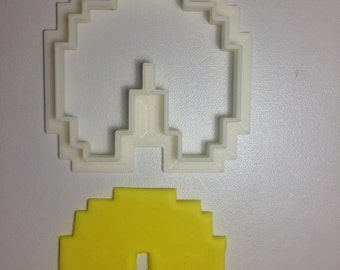 Pixel 8-bit Pac-Man outline Cookie Cutter