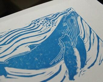 Linocut Humpback Whale Art Print, 5 X 7