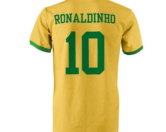 Ronaldinho 10 Brazil Football Ringer T-Shirt Yellow/Green