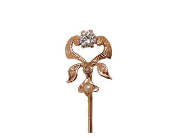 14K Art Nouveau Diamond Cultured Seed Pearl Stick Pin