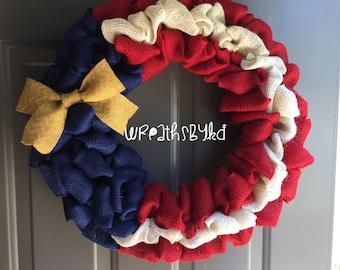July Fourth Burlap Wreath