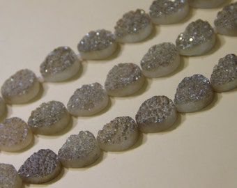 Champagne Titanium Druzy Agate Teardrop Beads Pendants, Drusy Agate Quartz Nugget Beads, Shinning Face Gems Stone Beads, Middle Grilled Bead