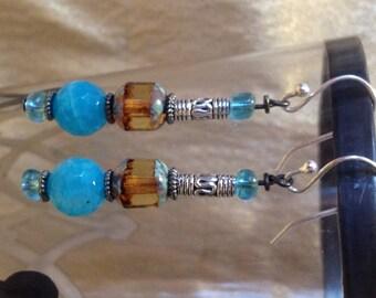 Amber Czech Glass and Light Blue Dragon Vein Earrings
