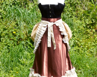 One Of A Kind Hand Made Steam Punk Victorian Gothic Brown Sateen Skirt with pleated Faux Silk Stripe And Bustle With Pleated Edge Size Small