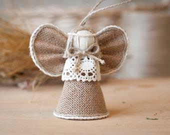 Burlap Angel Christmas Ornament, Christmas Tree Ornament, Christmas Gift, Gift for Her, Rustic Holiday Home Decor