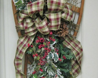 Antique Snowshoe Floral and Holly Wall Hanging