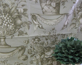 Robert Allen Taupe on Greyish Green Print Fabric