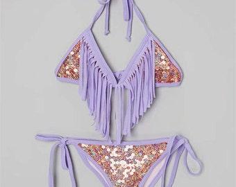 Sequined Fringe Bikini