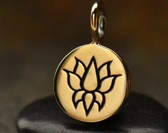 Natural Bronze Lotus Charm