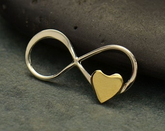 Sterling Silver, Infinity Link, Tiny Bronze Heart, Link with Heart, Charm Link, Heart Jewelry, Love Jewelry, Bronze Heart, Love Charm Link