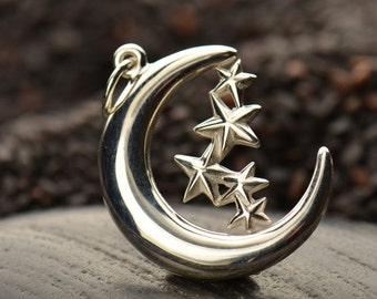 Sterling Silver Moon & Stars Charm