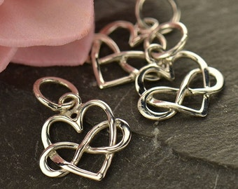 Tiny Sterling Silver Infinity Heart Charm