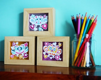 Set of 3 Miniature Dotty Owl Papercut Design Personal Use Templates - DIY