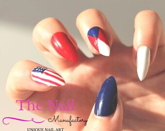 Patriotic nails etsy for 4th of july nail art decoration flag