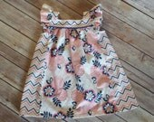 Sugar and spice toddler dress in navy and pink floral chevron