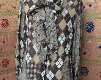 Blugirl-Blumarine-shirt printed pure silk-chiffon-. TG 40-42