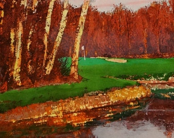 Golf, gift for men, Nature, landscape, countryside, fall,  original signed print, painted trees, Saburo SHIMADA Influenced by Oguiss