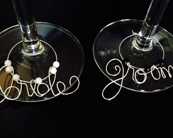 Wedding wine charms, bride and groom, wire wine glass charms