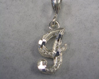 Letter I initial pendant charm in sterling silver