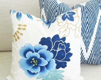 "SALE - Ready to Ship - Blue Floral Linen Decorative Pillow Cover - 17"" x 17"""