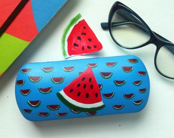 Glasses case hard - spectacle case - eyeglass cases hard - box for glasses  - hand-painted - sunglass case - watermelon art