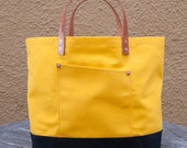 Canvas Market Tote - FREE Shipping in US - Water Repellent & Waxed Canvas - Yellow/Black - Leather Handles - Copper Rivets - Made in USA