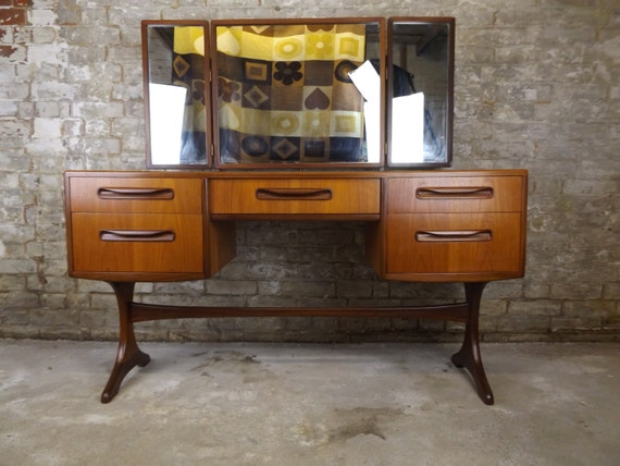 Retro g plan fresco dressing table desk with mirrors with for Bedroom set with matching desk