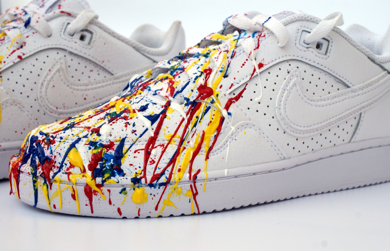Men sneakers Nike air force one white low - splatter painting design (numeroted edition)