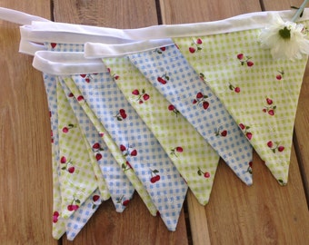 Summer Berries Bunting-blue and green gingham