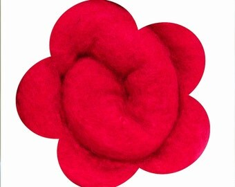Needle Felting Wool. Canadian Merino Wool.  Batts, Fleece, Carded. Wet felting. Dark watermelon red