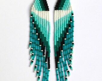 Native American Earrings Inspired. Turquoise Blue Black and White Earrings. Dangle Long Earrings. Beadwork.