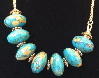 Set: Turquoise and Howlite Necklace with Matching Earrings