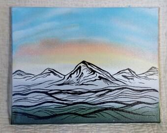 12x14 Sunset Mountain Line Drawing