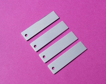"50 - 5052 Aluminum 1/2"" x 1 1/2"" Rectangle Blanks - ONE HOLE - Polished Metal Stamping Blanks - 14G 5052 Aluminum"