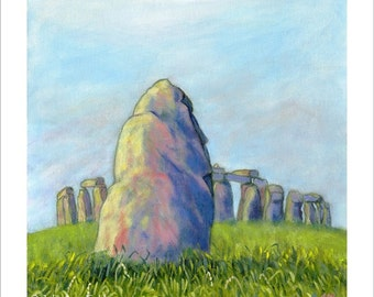 Painting Stonehenge & Heel Stone Print in pink, blue and green 30 x 30cm by JuliaAnnField