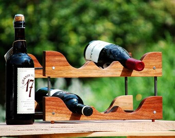 Wine Rack - countertop, walnut and steel, wood wine rack. winerack.