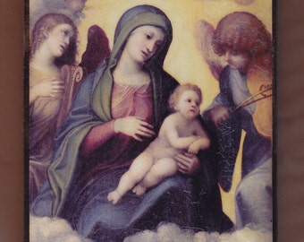 Virgin Mary,Tiziano, La Madonna con il Bambino, Virgin Mary mother with child Jesus and angels.FREE SHIPPING