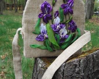 Bag   Designer purse   Bag burlap and silk ribbon   satin   gift   Handmade bag burlap   Embroidered Tote Bag   Flower Tote Bag   Handbags
