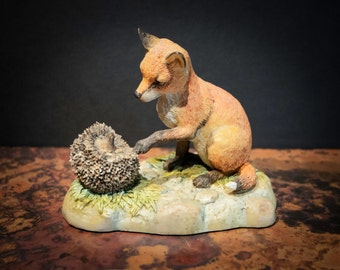 English Red Fox and Hedgehog Figure from Scotland