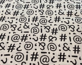 "Windham Fabric - ""Text Me"" - One Yard Cut - black and white, writing, text, symbols"