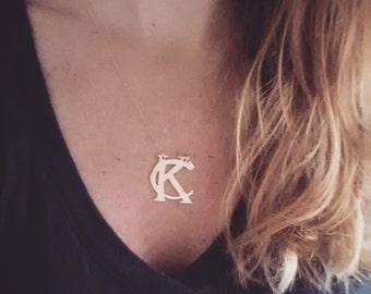 Kansas City Royals brass, gold, or silver necklace with dainty chain; Kansas City Royals; Kansas City Chiefs; Sporting KC; KC Royals